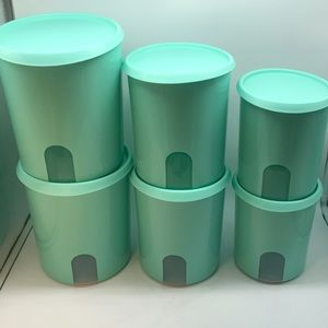 Tupperware One Touch Reminder  Canister Set of 6